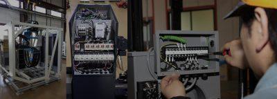 ユニット装置の電気配線による一貫組み立て体制